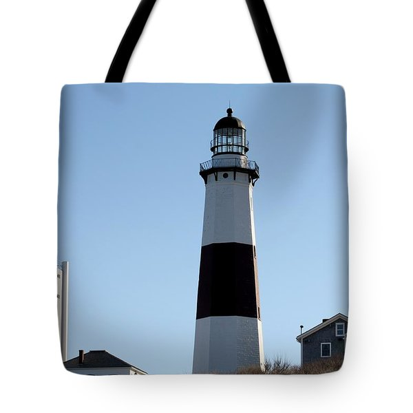 Montauk Lighthouse As Seen From The Beach Tote Bag by John Telfer
