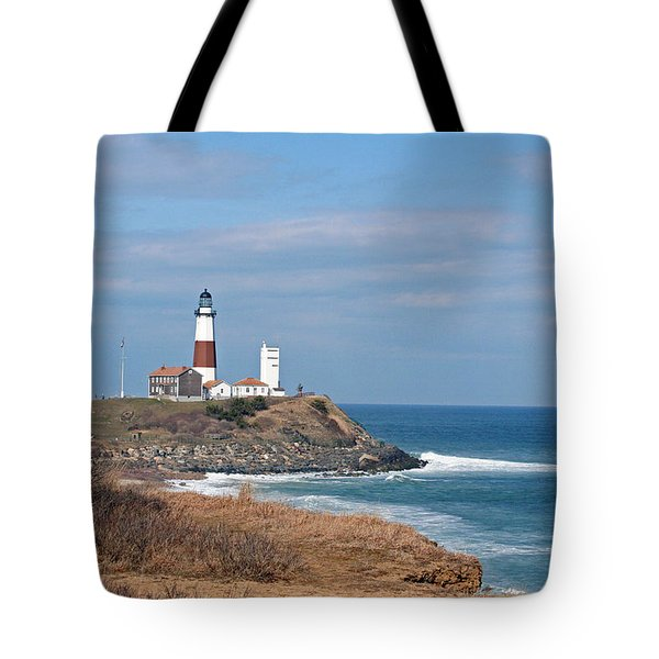 Tote Bag featuring the photograph Montauk Lighthouse/camp Hero by Karen Silvestri