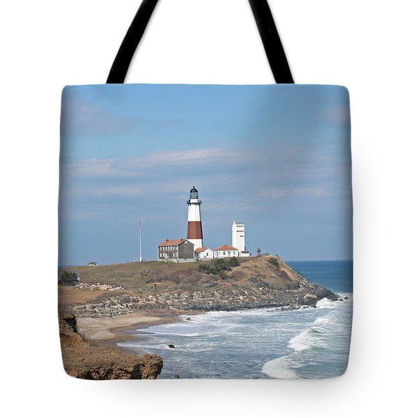 Montauk Lighthouse View From Camp Hero Tote Bag by Karen Silvestri
