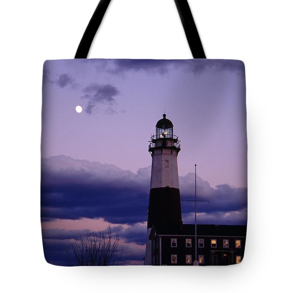 Montauk Lighthouse With Moon Tote Bag