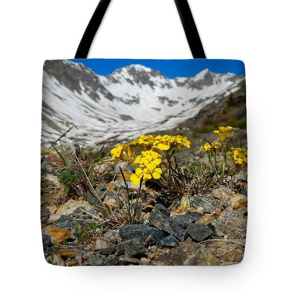 Blue Lakes Colorado Wildflowers Tote Bag