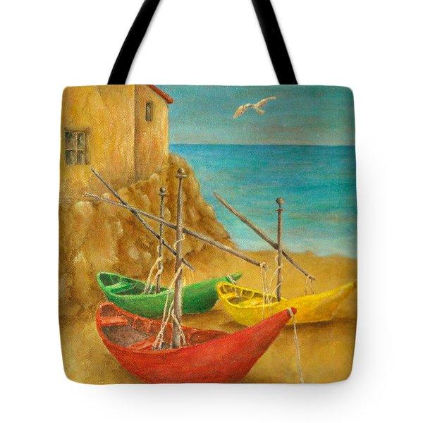Monterosso On Riviera Di Levante Tote Bag by Pamela Allegretto