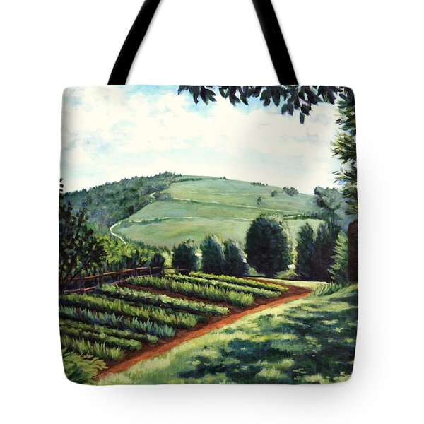 Tote Bag featuring the painting Monticello Vegetable Garden by Penny Birch-Williams