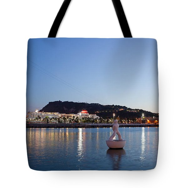 Montjuic And Torre Jaume I At Dusk In Barcelona Tote Bag