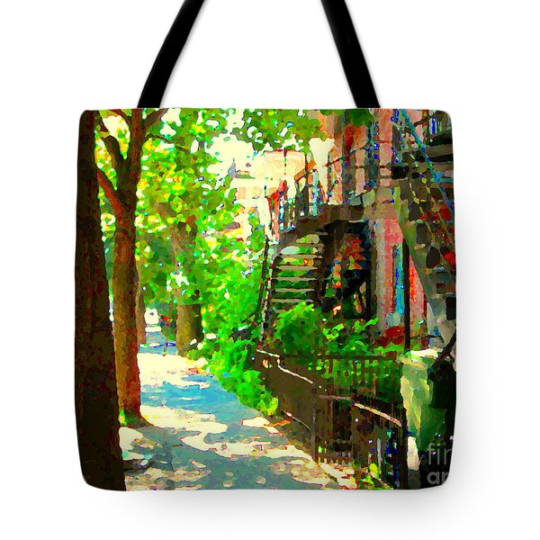 Montreal Art Colorful Winding Staircase Scenes Tree Lined Streets Of Verdun Art By Carole Spandau Tote Bag