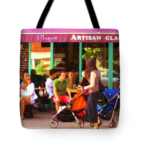 Montreal Art Work Bilboquet Cafe Scene Moms And Baby Carriages  In  Outremont By Carole Spandau Tote Bag by Carole Spandau