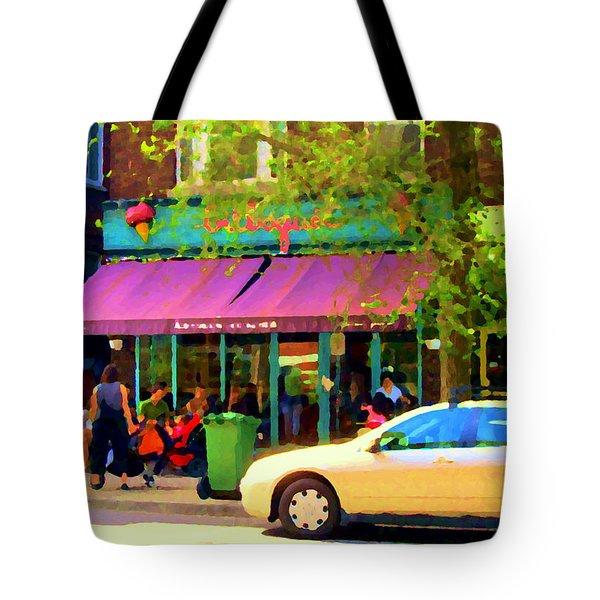 Montreal Cafe Scenes Beautiful Bilboquet On Bernard Creme Glacee Summer City Scene Carole Spandau  Tote Bag by Carole Spandau