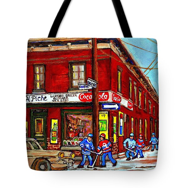Montreal Depanneur Epicerie Boucherie Coca Cola South West Montreal Winter Pantings Hockey Art  Tote Bag by Carole Spandau