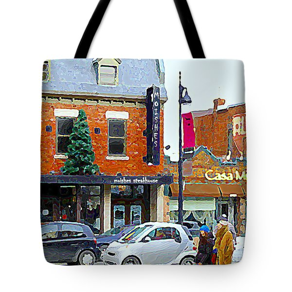 Montreal Memories Moishes Famous Steakhouse Restaurant On The Main Busy Winter Scene Carole Spandau Tote Bag by Carole Spandau