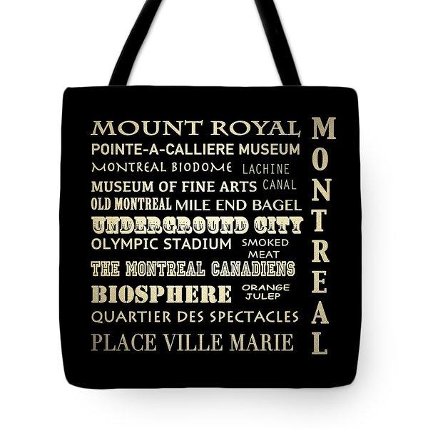 Montreal Quebec Famous Landmarks Tote Bag
