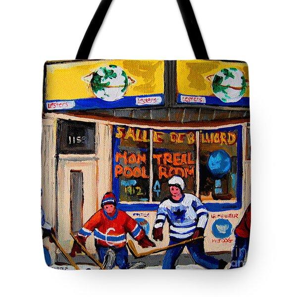 Montreal Pool Room City Scene With Hockey Tote Bag by Carole Spandau