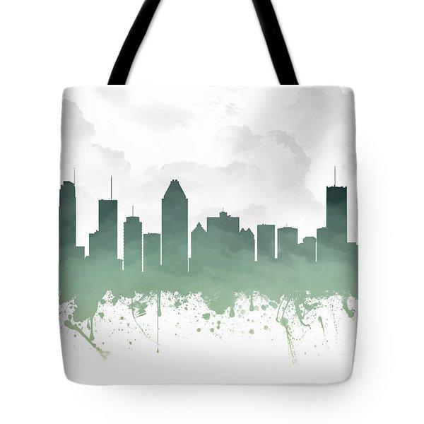 Montreal Quebec Skyline - Teal 03 Tote Bag