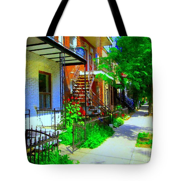 Montreal Stairs Shady Streets Winding Staircases In Balconville Art Of Verdun Scenes Carole Spandau Tote Bag by Carole Spandau