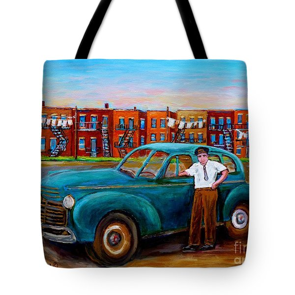 Montreal Taxi Driver 1940 Cab Vintage Car Montreal Memories Row Houses City Scenes Carole Spandau Tote Bag by Carole Spandau