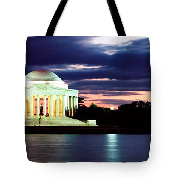 Monument Lit Up At Dusk, Jefferson Tote Bag by Panoramic Images