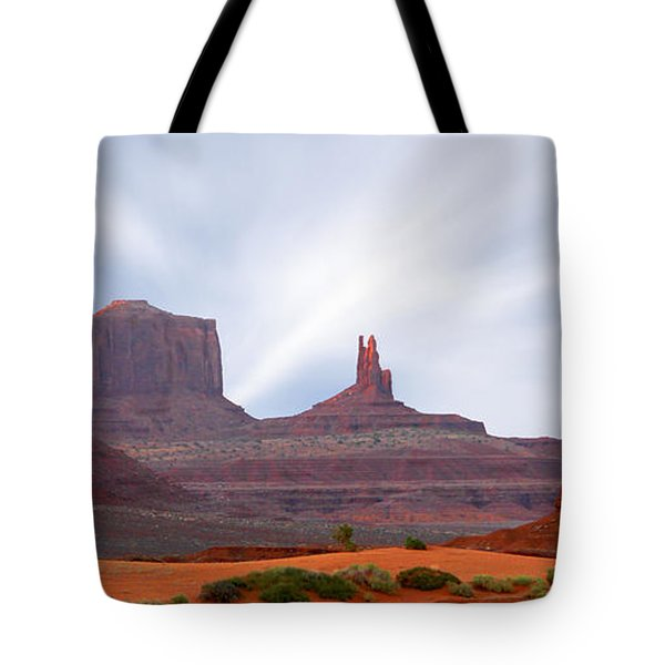 Monument Valley At Sunset Panoramic Tote Bag by Mike McGlothlen