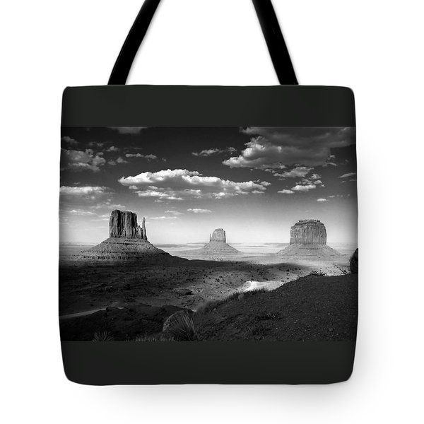 Monument Valley In Black And White Tote Bag