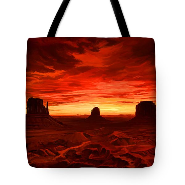 Tote Bag featuring the painting Monument Valley Sunset by Tim Gilliland