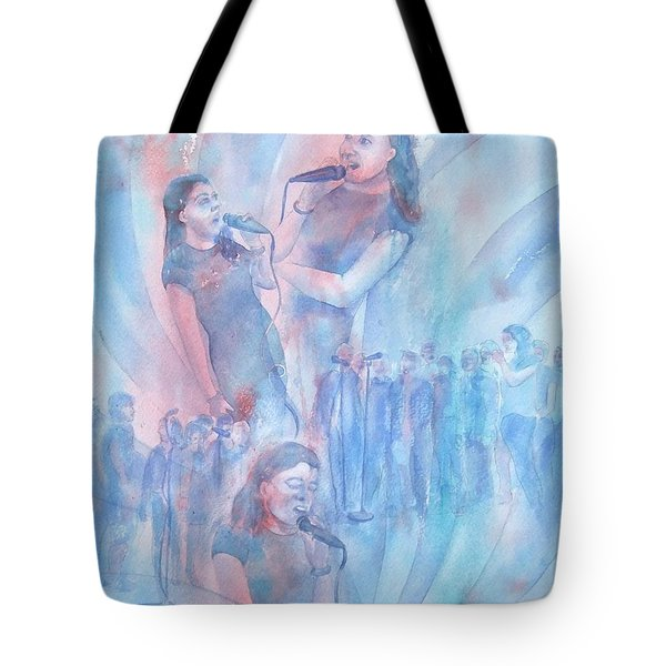 Tote Bag featuring the painting Moods Of Singing by Debbie Lewis