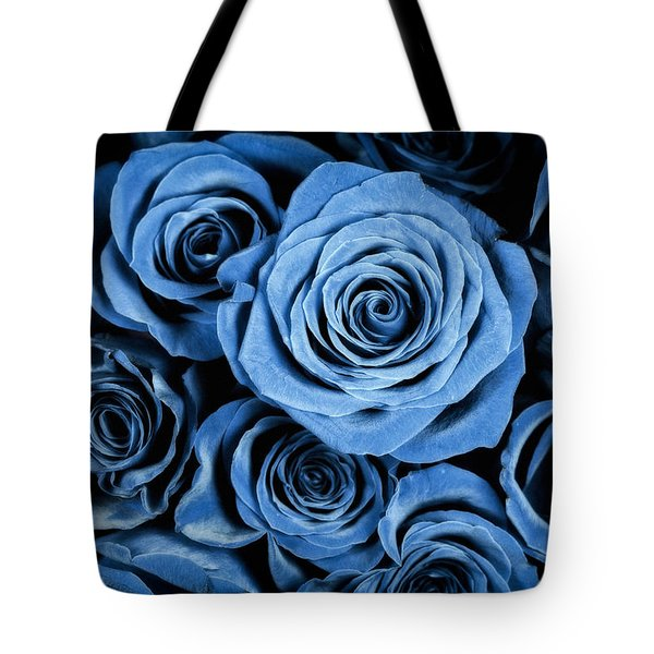 Moody Blue Rose Bouquet Tote Bag by Adam Romanowicz