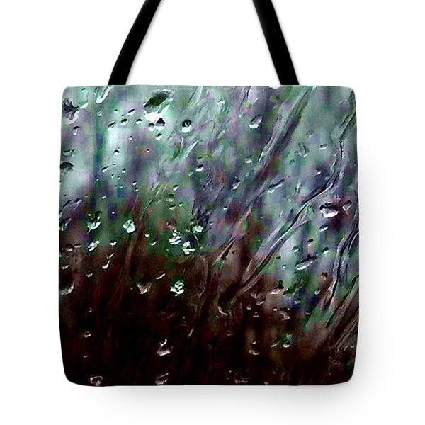 Tote Bag featuring the photograph Moody Blues Rain On The Window Series 2 Abstract Photo by Marianne Dow