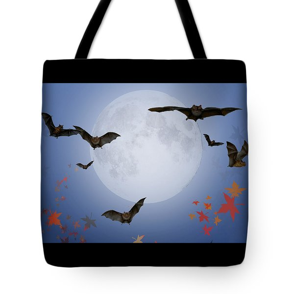 Moon And Bats Tote Bag by Melissa A Benson
