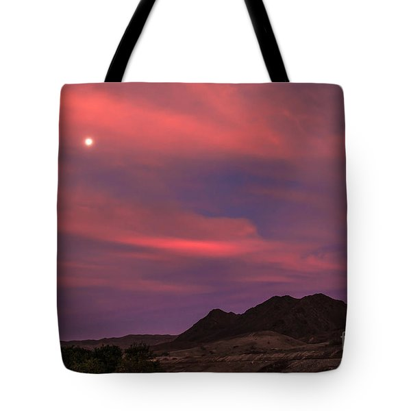 Moon And Sunrise Tote Bag by Robert Bales