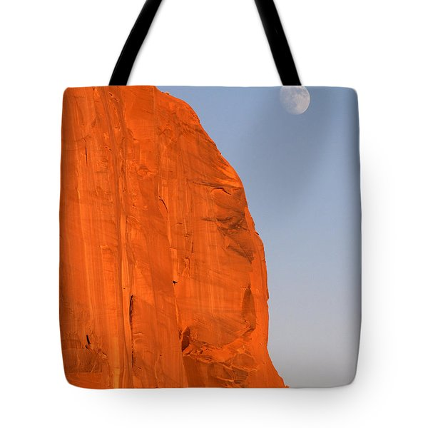 Moon At Monument Valley Tote Bag by Jeff Brunton