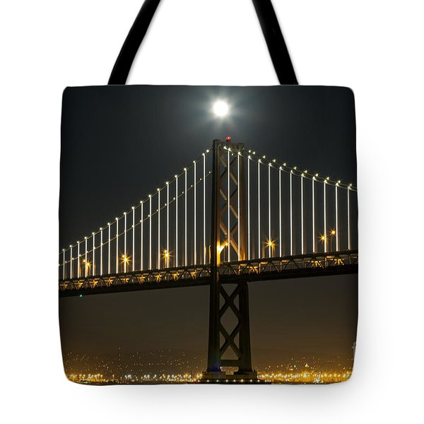 Tote Bag featuring the photograph Moon Atop The Bridge by Kate Brown