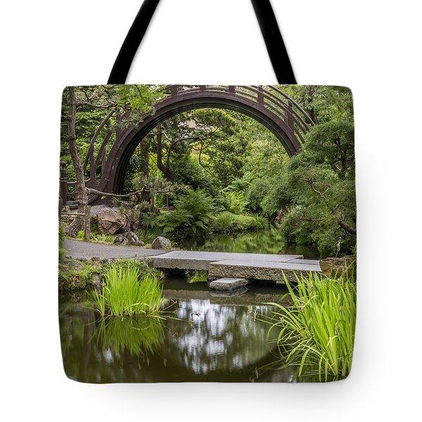 Moon Bridge Vertical - Japanese Tea Garden Tote Bag
