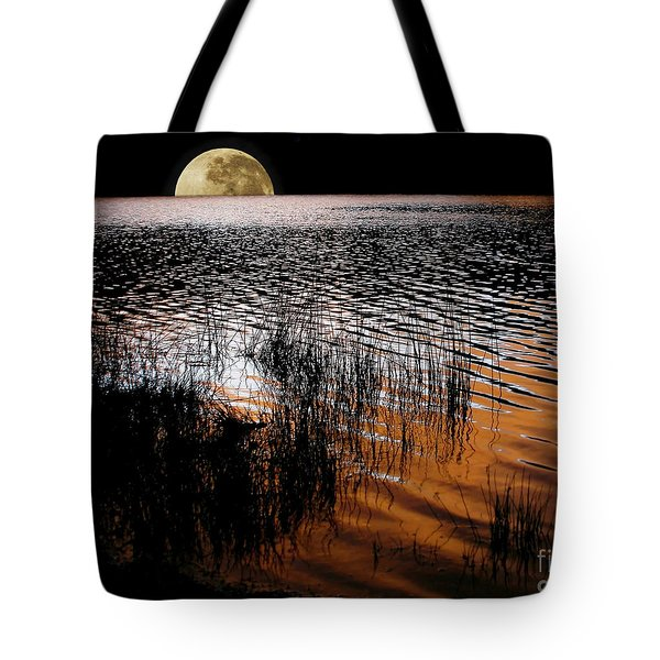 Moon Catching A Glimpse Of Sunset Tote Bag by Kaye Menner