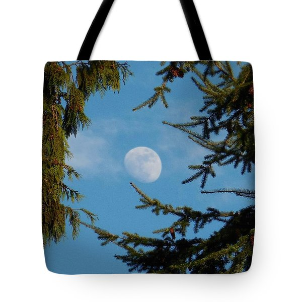 Moon Framed By Trees Tote Bag