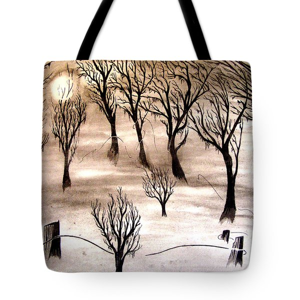 Moon Lit Fog Tote Bag