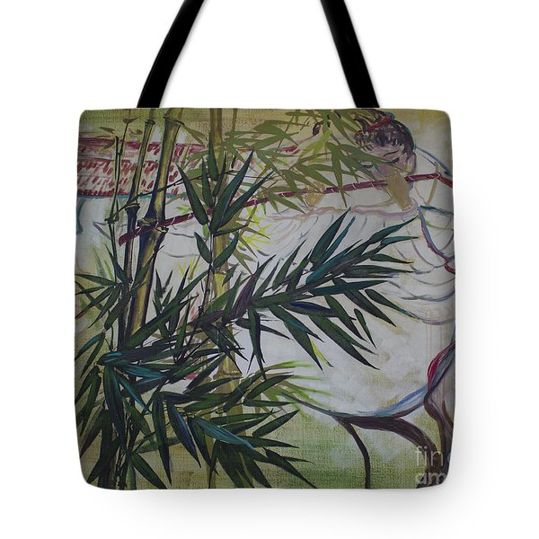 Moon Lovers With Flute  Tote Bag by Avonelle Kelsey