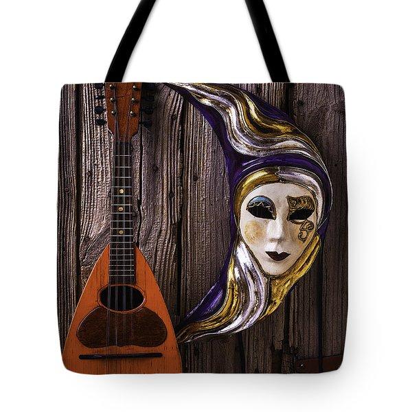 Moon Mask And Mandolin Tote Bag