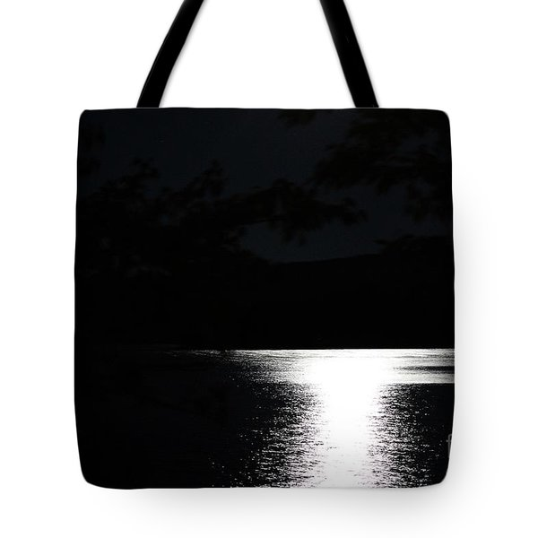 Moon On Waterton Lake Tote Bag