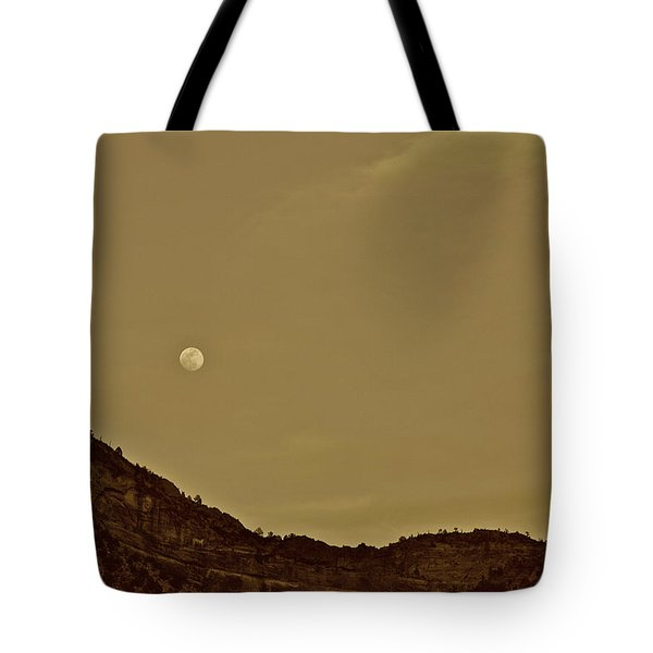 Moon Over Crag Utah Tote Bag