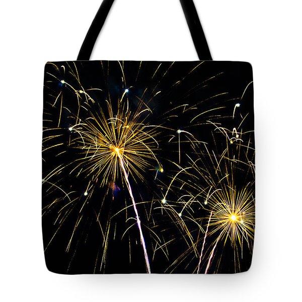 Moon Over Golden Starburst- July Fourth - Fireworks Tote Bag