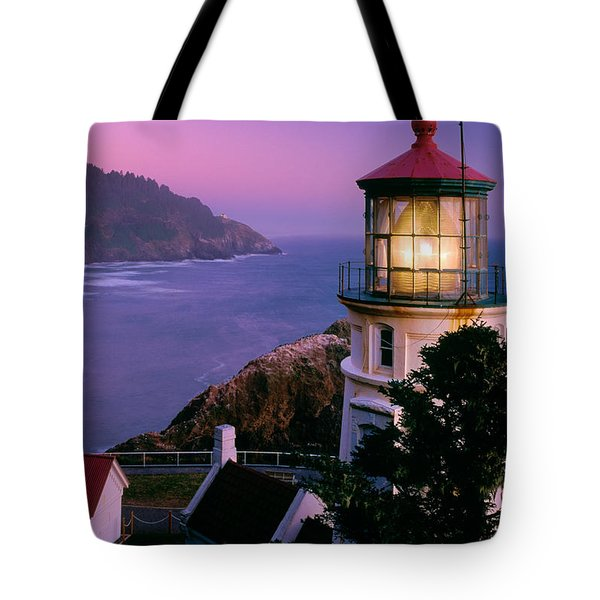Moon Over Heceta Head Tote Bag by Inge Johnsson
