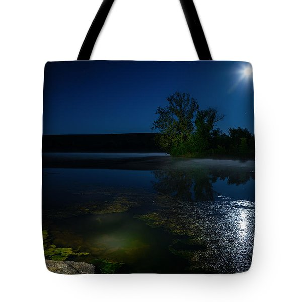 Moon Over Lake Tote Bag by Alexey Stiop