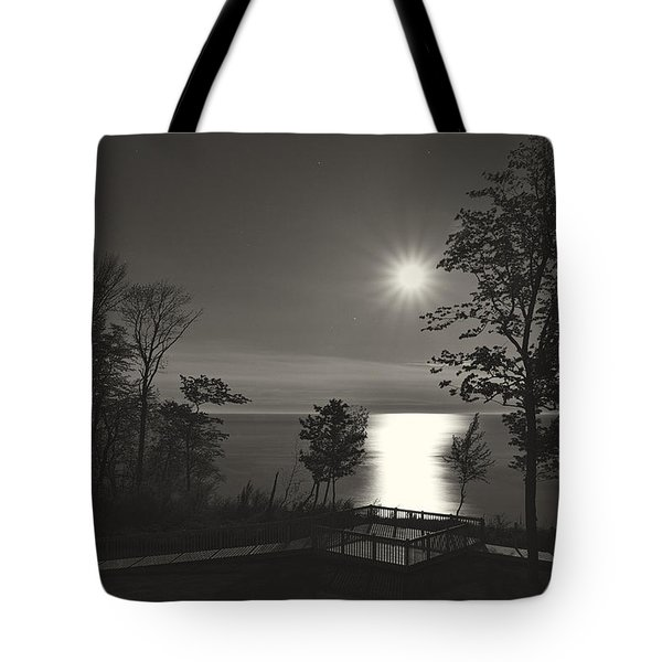 Moon Over Lake Michigan In  Black And White Tote Bag