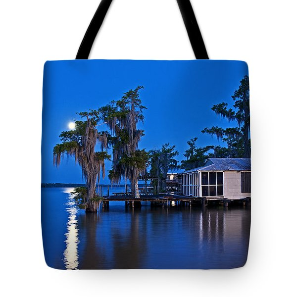 Moon Over Lake Verret Tote Bag
