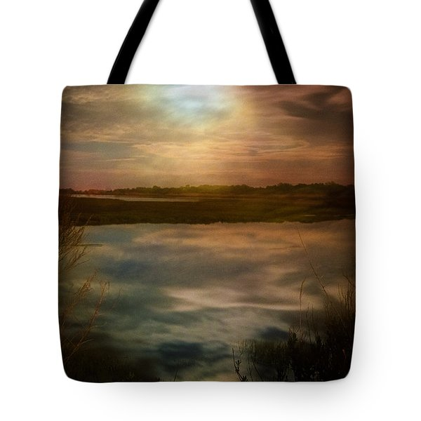 Moon Over Marsh - 35mm Film Tote Bag by Gary Heller