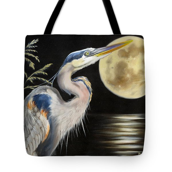 Tote Bag featuring the painting Moon Over Mississippi A Great Blue Herons Perspective by Phyllis Beiser