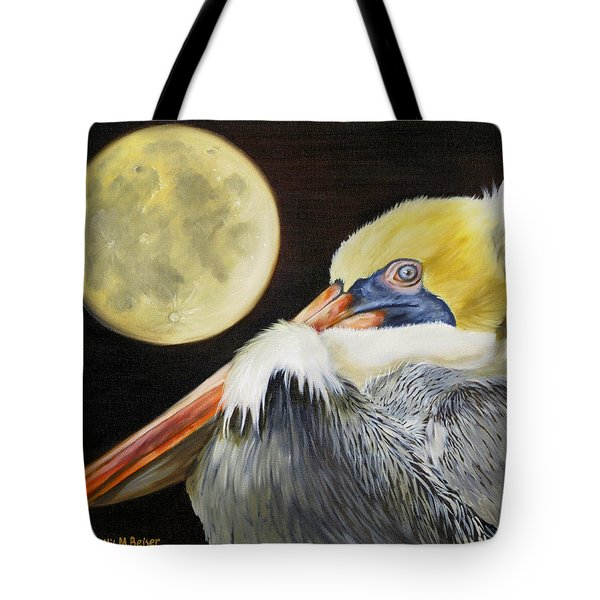 Tote Bag featuring the painting Moon Over Mississippi A Pelicans Perspective by Phyllis Beiser
