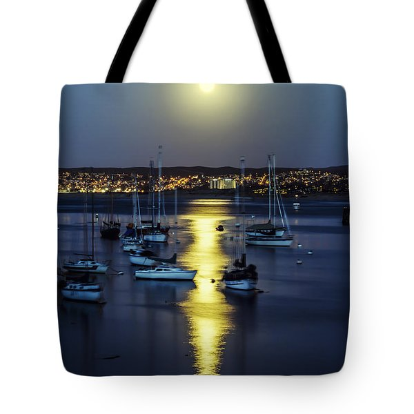 Moon Over Monterey Bay Tote Bag by Joseph S Giacalone