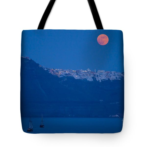 Moon Over Santorini Tote Bag by Brian Jannsen