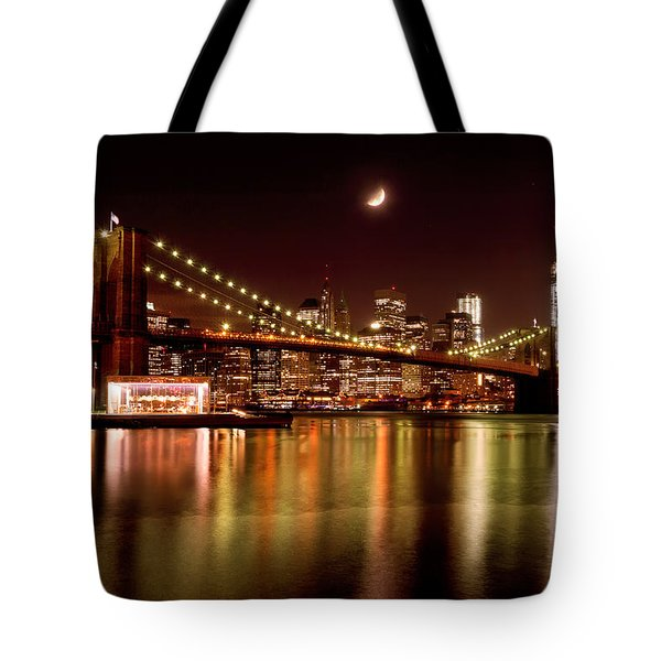 Moon Over The Brooklyn Bridge Tote Bag