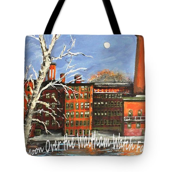 Tote Bag featuring the painting Moon Over Waltham Watch by Rita Brown