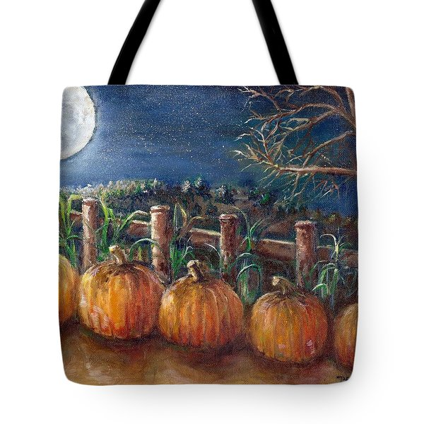 Moon Pumpkin Harvest Tote Bag